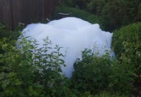 Под Обнинском ручей покрылся белой пеной